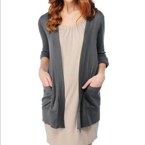 Splendid Grey Open Front Cotton Blend Cardigan